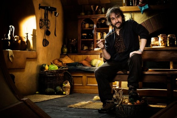 Peter Jackson on set for The Hobbit